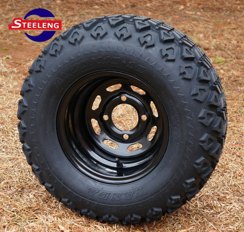 "10""x7'' BLACK STEEL WHEELS and 20"" ALL TERRAIN TIRES (SET OF 4)"