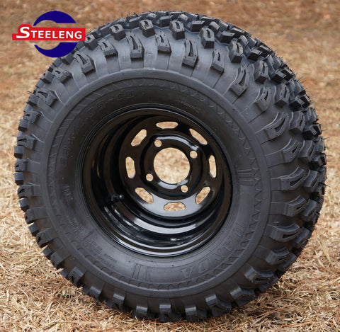 "10""x7'' BLACK STEEL WHEELS and 22"" ALL TERRAIN TIRES (SET OF 4)"