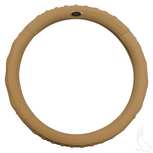 "Steering Wheel Cover, Beige Leather, E-Z-Go 01-, Club Car 82-10, Yamaha (13.65""-14"")"