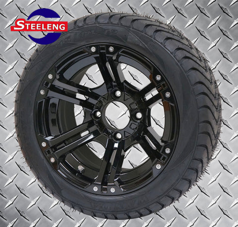 "12"" BLACK TERMINATOR WHEELS and 215/40-12 DOT LOW PROFILE TIRES (SET OF 4)"