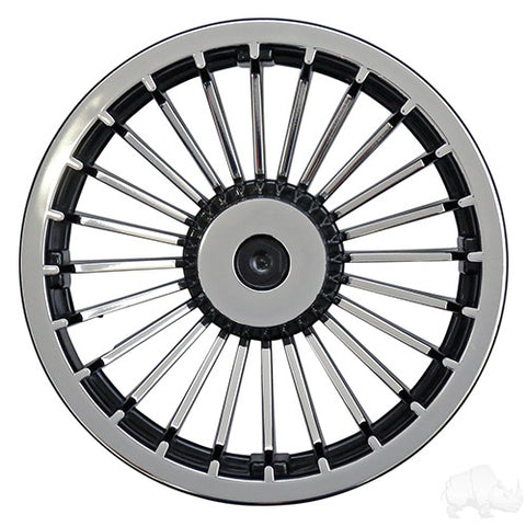 "Wheel Cover, 8"" Turbine Black/Silver"