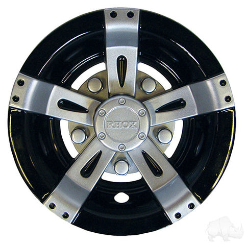 "Wheel Cover, 8"" Vegas Silver Metallic w/ Black"