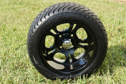 "12"" BLACK DARKSIDE WHEELS and 215/40-12 DOT LOW PROFILE TIRES (SET OF 4)"