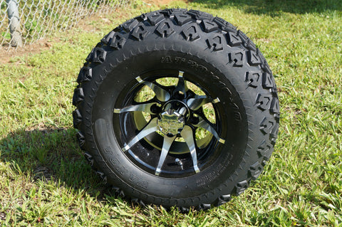 "10"" MACHINED BLACK KRAKEN WHEELS and 20"" ALL TERRAIN TIRES (SET OF 4)"