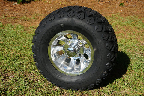 "10"" POLISHED SILVER BULLET WHEELS and 20"" ALL TERRAIN TIRES (SET OF 4)"