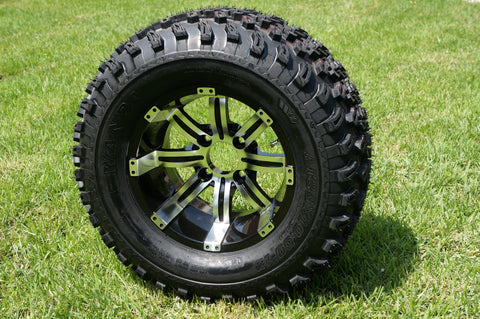 "12""x7"" MACHINED/BLACK TEMPEST WHEELS and 23""x10.5""-12"" ALL TERRAIN TIRES (SET OF 4)"