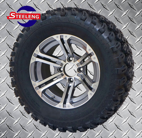 "12""x7"" GUNMETAL TERMINATOR WHEELS and 23""x10.5""-12"" ALL TERRAIN TIRES (SET OF 4)"