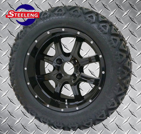 "14""x7"" NIGHT STALKER WHEELS and 23""x10""-14"" ALL TERRAIN TIRES (SET OF 4)"