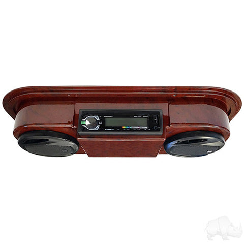 "Assembled, Woodgrain Console w/ Dual AM/FM/CD Receiver, 5.25"" Speakers & Antenna"