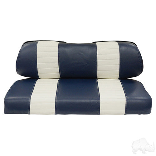 Seat Back & Bottom Covers, Navy/White, Club Car New Style