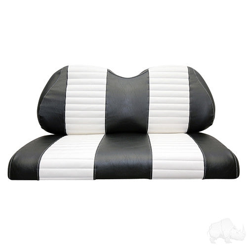 Seat Back & Bottom Covers, Black/White, Club Car Precedent