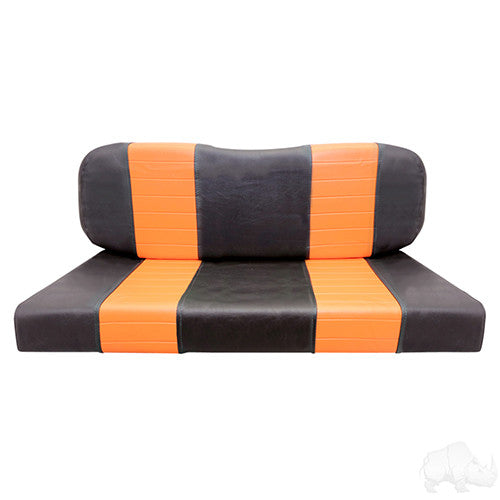 Seat Back & Bottom Covers, Black/Orange, RH Rear Seat Kit Small