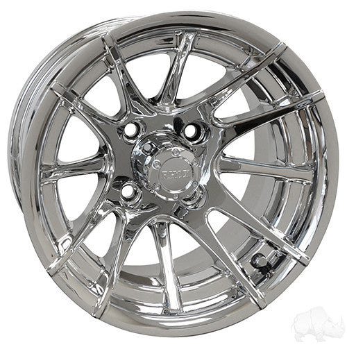 RX102, 12 Spoke, Chrome w/ Center Cap, 12x7 ET-25