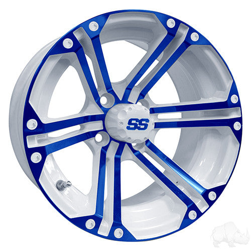 RHOX RX354 White and Blue w/Center Cap, 14x7 ET-25