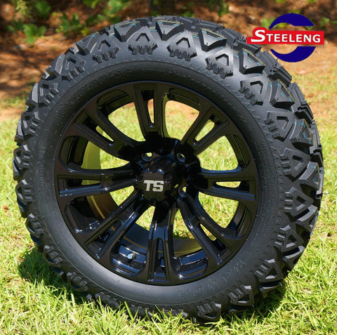 "14""x7"" VOODOO WHEELS and 23""x10""-14"" ALL TERRAIN TIRES (SET OF 4)"