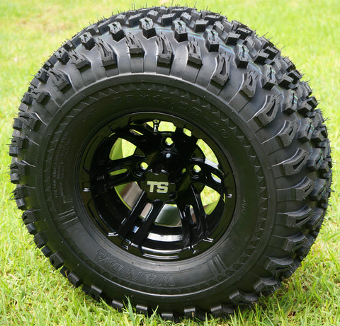 "10"" BULLDOG Black Wheels and 22x11-10 All Terrain Golf Cart Tires - Set of 4"
