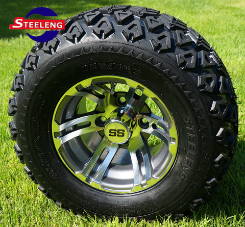 "10"" GUNMETAL BULLDOG WHEELS and 20"" ALL TERRAIN TIRES (SET OF 4)"