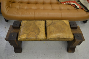 Brazilian Modern Exotic Wood Solid Bench with cushions
