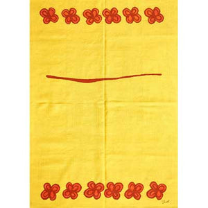 kilim french accent rug yellow with red flowers