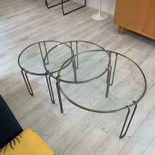 Set of three Dutch Modernist, Glass and Enameled Metal Nesting Tables