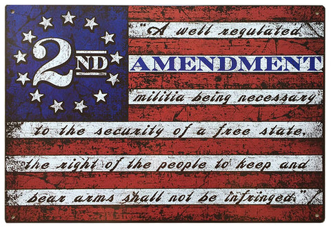 "2nd Amendment Brand American Flag 11"" x 16"" Tin Sign Second 2A"