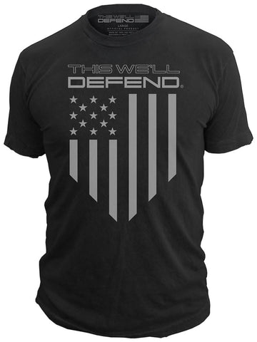 This We'll Defend® - American Shield - T-Shirt USA Flag Tactical Tee, Black