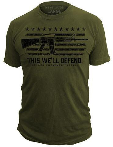 This We'll Defend® AR-15 Flag T-Shirt Molon Labe Second 2nd Amendment