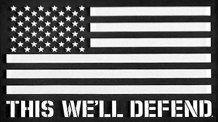 "5"" x 3.5"" This We'll Defend Black & White American Combat Flag Sticker Decal"