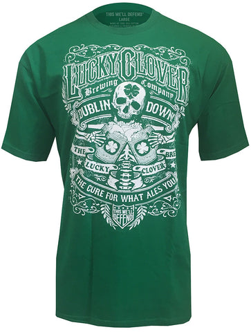 This Well Defend - Lucky Clover - Mens Vintage T-Shirt Skeleton Shamrock Party, Green
