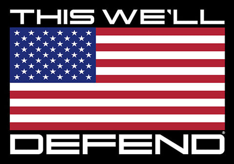 "5"" x 3.5"" This We'll Defend Red, White, and Blue American Flag Sticker Decal"