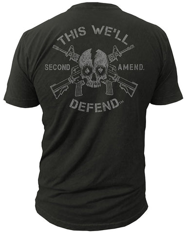 This We'll Defend® Skull Gunz T-Shirt Molon Labe Second 2nd Amendment