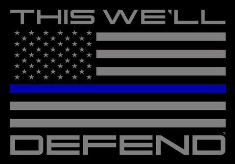 "5"" x 3.5"" This We'll Defend® Thin Blue Line American Flag Police LEO Sticker Decal"