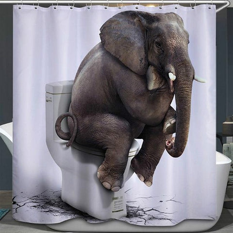 Elephant 3D Waterproof Shower Curtain