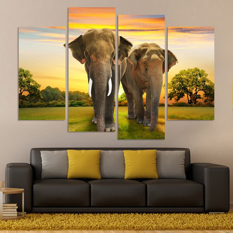 Elephant Split Canvas (4 Pcs)
