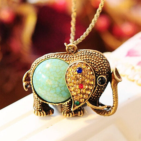 Vintage Elephant Necklace With Rhinestone