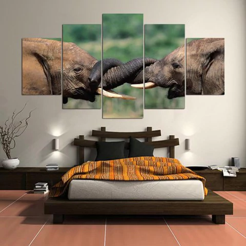 Elephant Love Canvas Wall Art