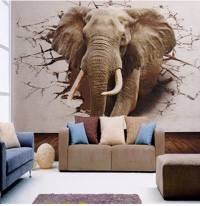 3D Elephant Modern Wall Sticker