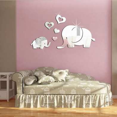 Baby Elephant With Mom Mirror Wall Art