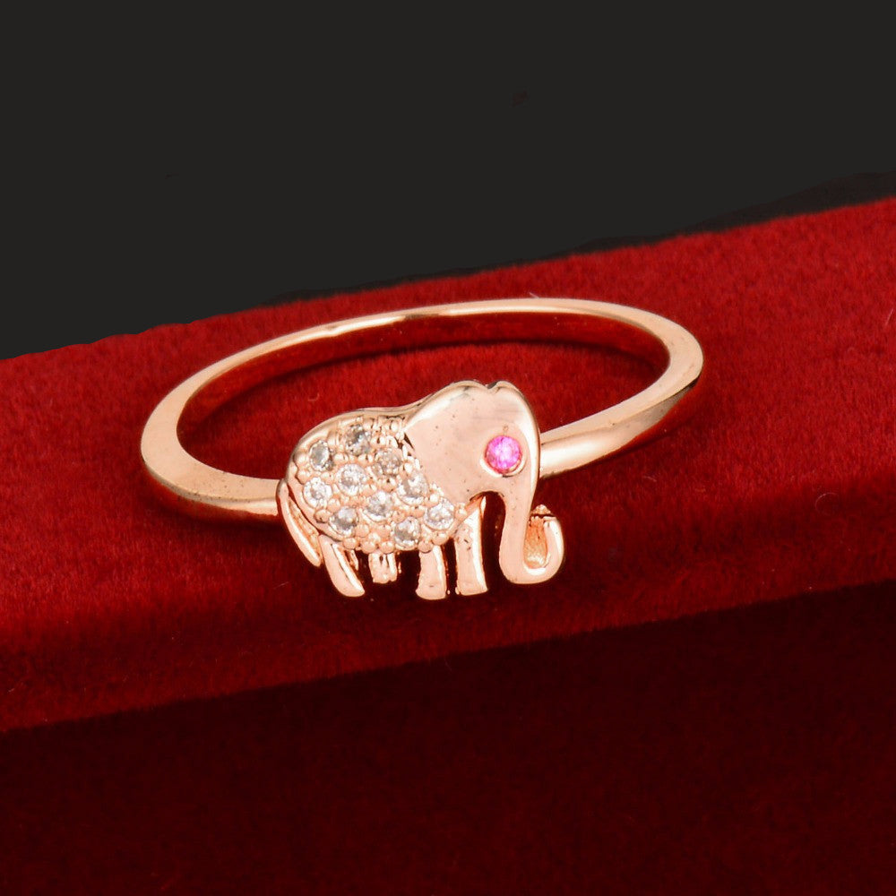 Elephant Crystal Adjustable Ring