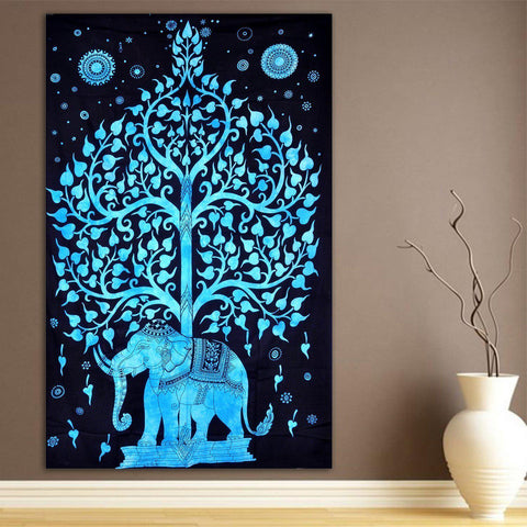 Elephant Tree of Life Blue Wall Tapestry