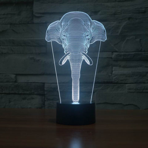 3D Elephant Night Light Lamp (7 Color Changing)