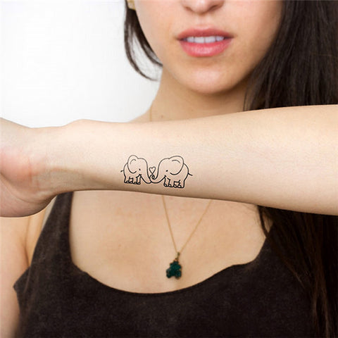 Elephant Love Temporary Tattoo Sticker (Removable & Waterproof)