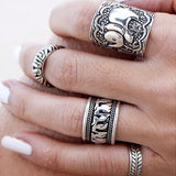 Vintage Elephant Ring Set (4 Rings)