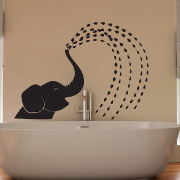 Elephant Baby Spraying Water Wall Art