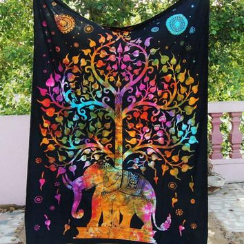 Elephant Tree of Life Wall Tapestry