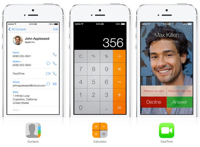iOS 7 contacts calculator phone calls Gadget Grave