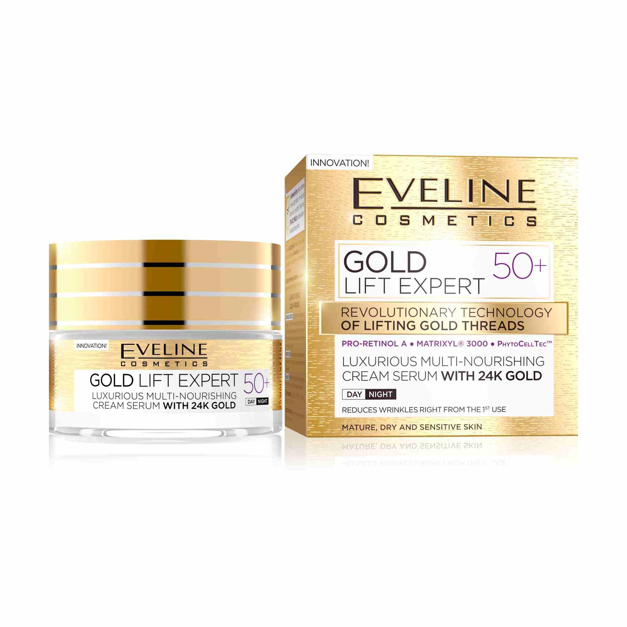 Gold Lift Expert Luxurious Multi-Nourishing Cream Serum with 24k Gold 50+