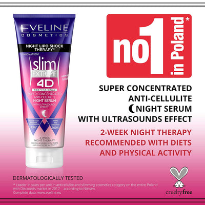 Slim Extreme 4D Super Concentrated Cellulite Cream with Night Lipo Shock Therapy, 8.8 fl oz