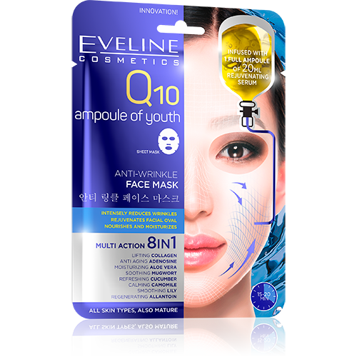 Q10 Ampoule of Youth Anti-Wrinkle Face Mask - eveline-cosmetics