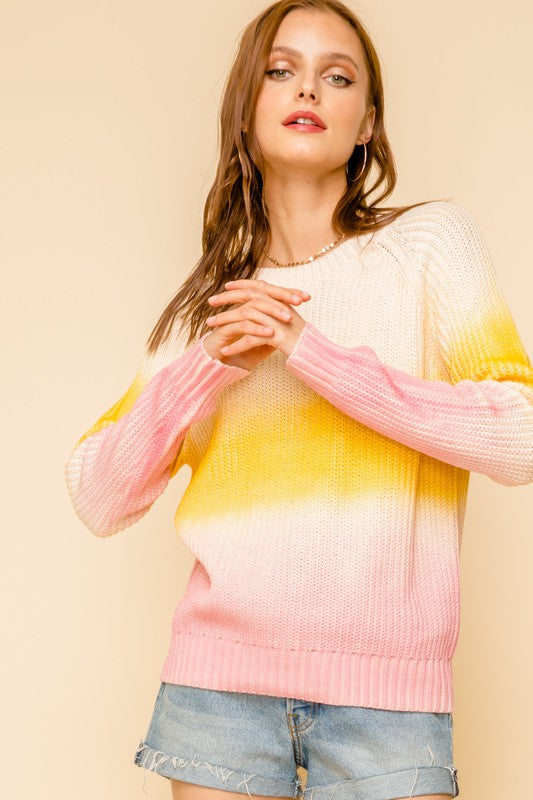 PINK YELLOW PULLOVER